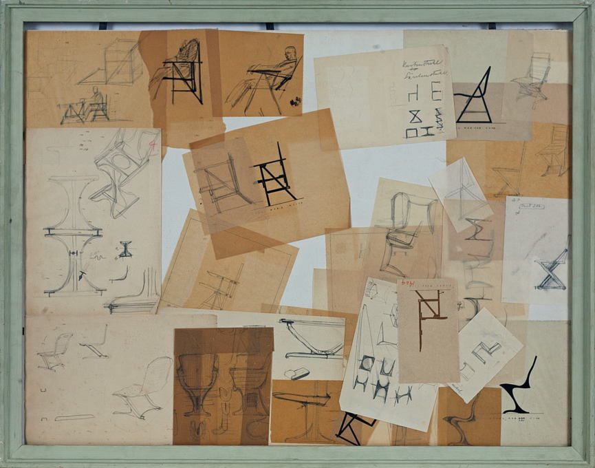 Heinz Rasch: Framed sketches with studies for chairs, various years. Pencil and ink on paper. (© Kragstuhlmuseum / Tecta-Archiv, Lauenförde, Photo: Hans Schröder)