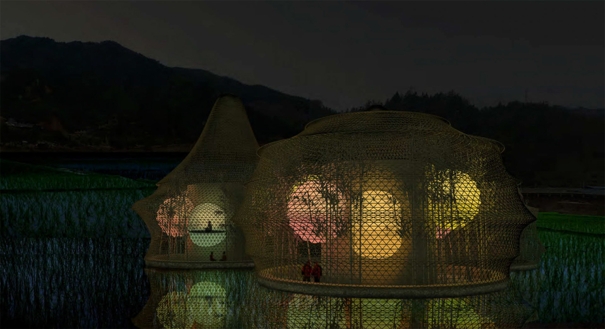 And the nocturnal view, with the sleeping capsules glowing like Chinese lanterns.