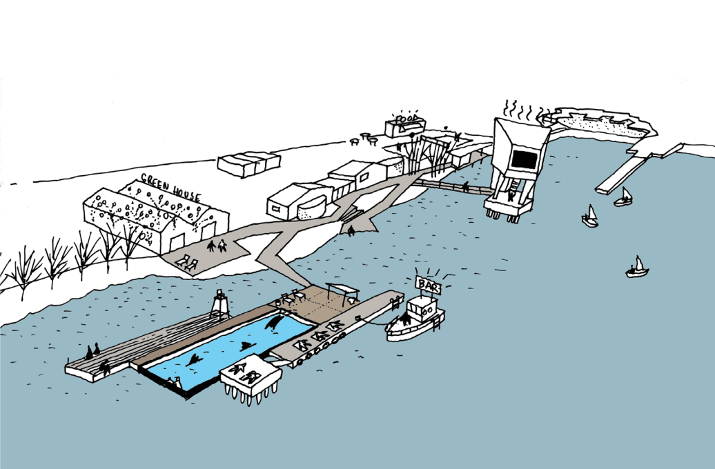"The next realised structure of  ""Jubilee Park"" was the floating pool."