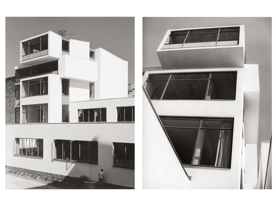 The white, cubic tower at rear of the complex once housed carpentry and building workshops; these are now rentable studio and office spaces... (Photos: © Klaus Kirsten & Heinz Nather, 1959)