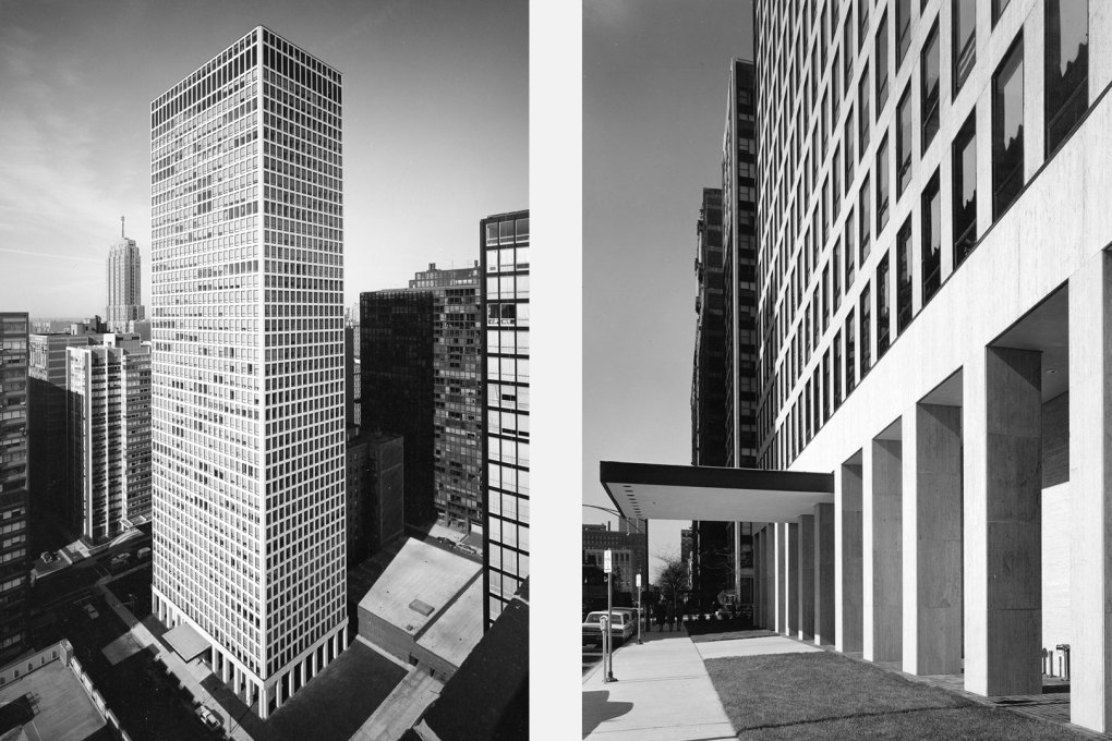 The completed 42-storey Dewitt Chestnut Apartment Tower by SOM was completed in 1965, when construction of the Neue Nationalgalerie in Berlin had just began. (Photos: Hedrich Blessing)