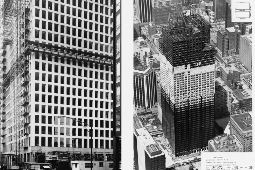 Modern Chicago under construction: the Dewitt Chestnut Apartment Tower (left; Photo: SOM) and the Sears Tower (right; Photo © McShane-Fleming).