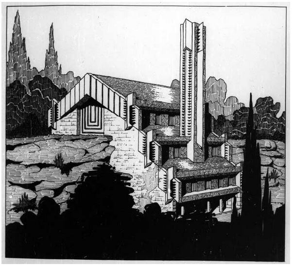 Perspective sketch by the architect Walter Burley Griffin of the Incinerator, published in Building magazine in 1934. (Image: Walter Burley Griffin Society Inc. Collection)