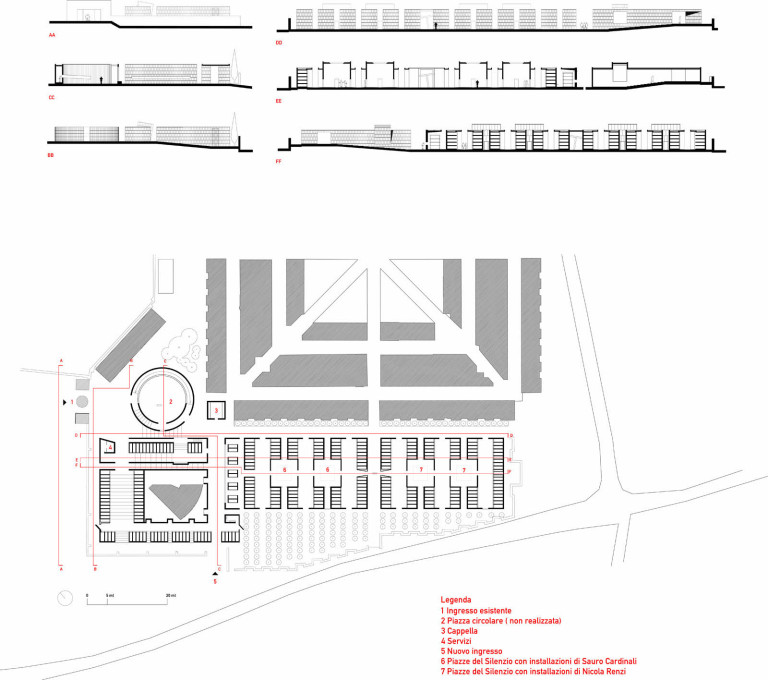 Plan, sections and elevations of the Gubbio Cemetery extension. (Image: Andrea Dragoni)