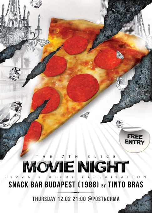 Poster for movie nights at PostNorma with home-baked pizza made in a homemade pizza-oven by Thomas Schneider and Reinier Kranendonk.