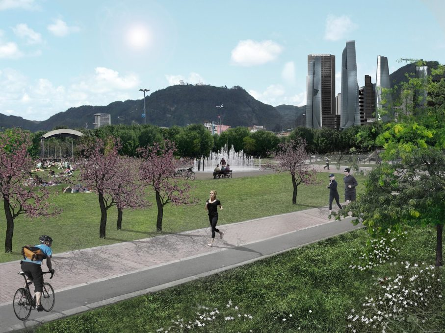 Future realities? A large park in central Bogotá: an extension of the existing Parque Tercer Milenio. (Image: Archi-Tectonics)
