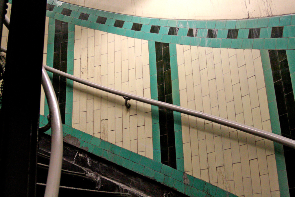Russell Square Station's 175 step spiral-stair is still faced in the orignal decorative tile pattern from the end of the 19th century. (Photo: Nic McPhee)