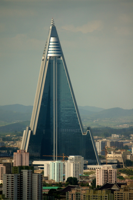 This hotel is bigger than your hotel. The Ryugyong Hotel will open by summer in Pyongyang North Korea. It will be the tallest hotel in the world. (Photo: Joseph A Ferris III)