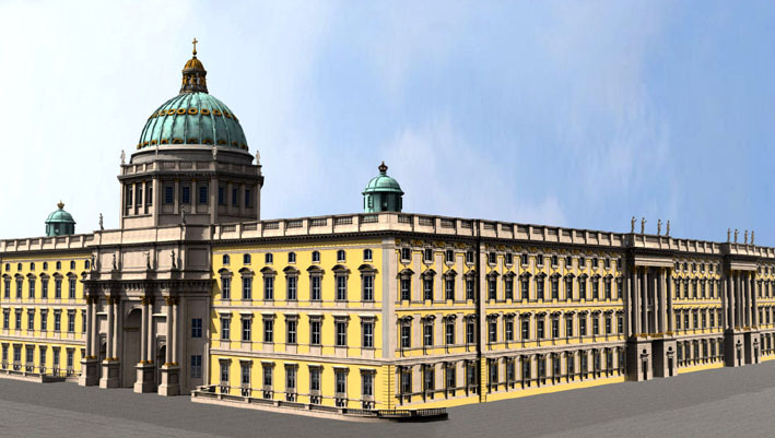 Zombie Palace no. 2: rendering of reconstructed Stadtschloss. Demolished in the 1950s as an imperialist symbol, the Palast der Republik replaced it, and has now in turn bitten the dust. (Image: Förderverein Berliner Stadtschloss)