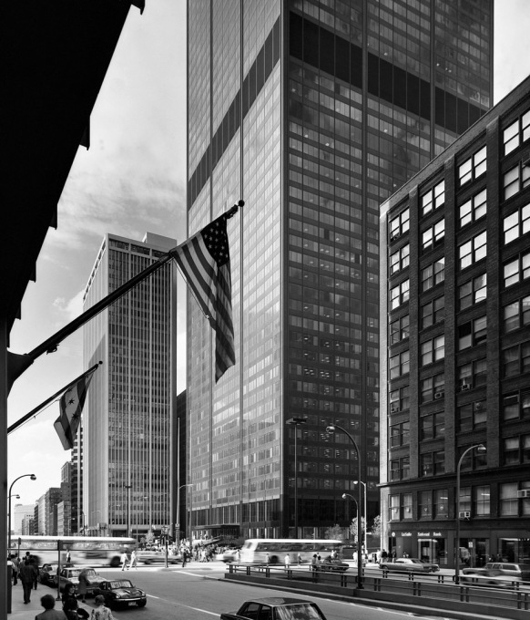 The Sears Tower in 1974 with its immediate surroundings. (Photo © Ezra Stoller ESTO)