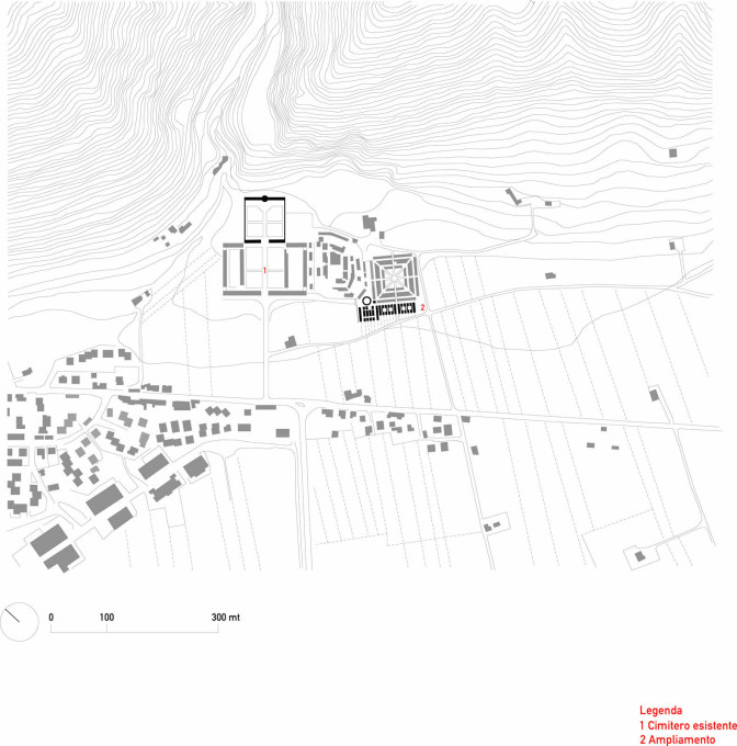 Plan showing the cemetery, which also nestles against the lower slopes of Monte Igino.