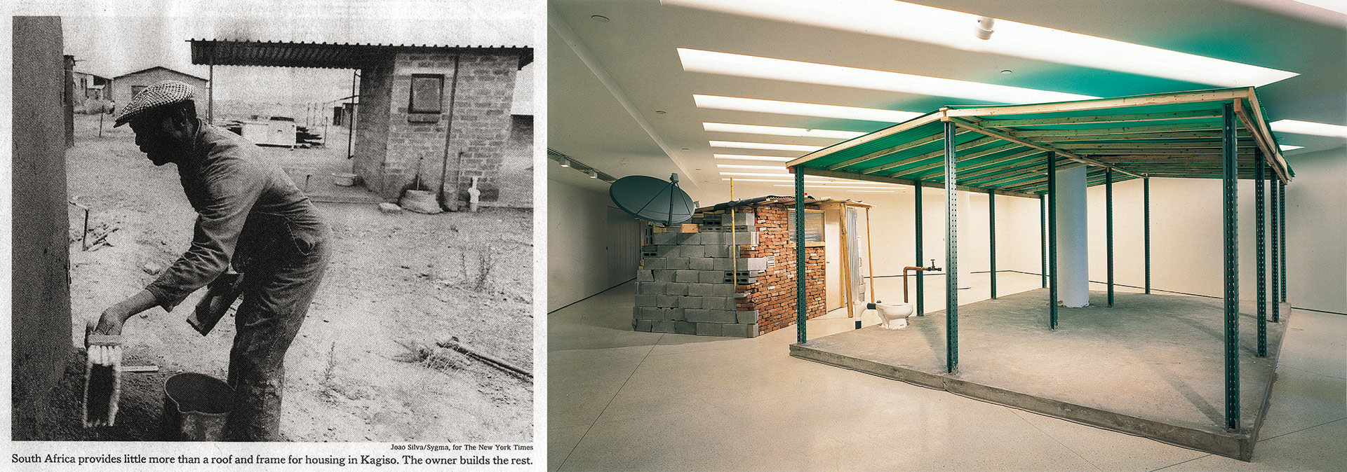 """Kagiso: Skeleton House"" exhibited the Johannesburg housing model at the Guggenheim Museum in New York in 2001. (Photo right: Ellen Labenski; left Joao Silva; courtesy the artist/Galerie Nordenhake)"