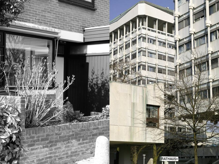 A selection of recent photographs by Johannes Schwartz record the condition of several of Bakema's projects today: 't Hool housing district, Eindhoven; town hall, Marl. (Photos: Johannes Schwartz)
