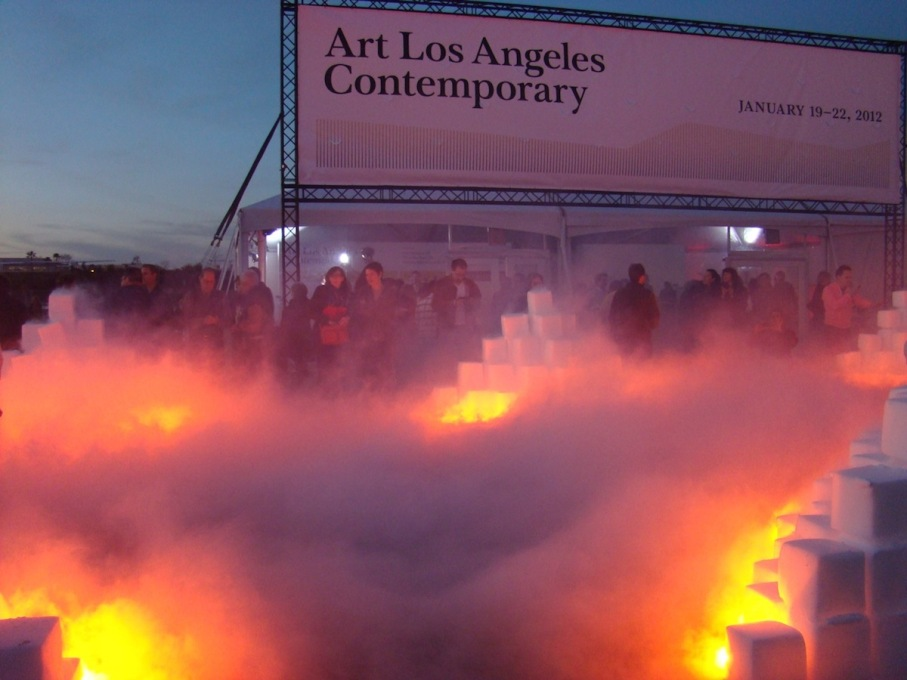 Chicago and collaborator Donald Woodman created a project culminating in a day-long performance constructing 12 ziggurats using 25 tons dry ice. (Photo courtesy M&A)