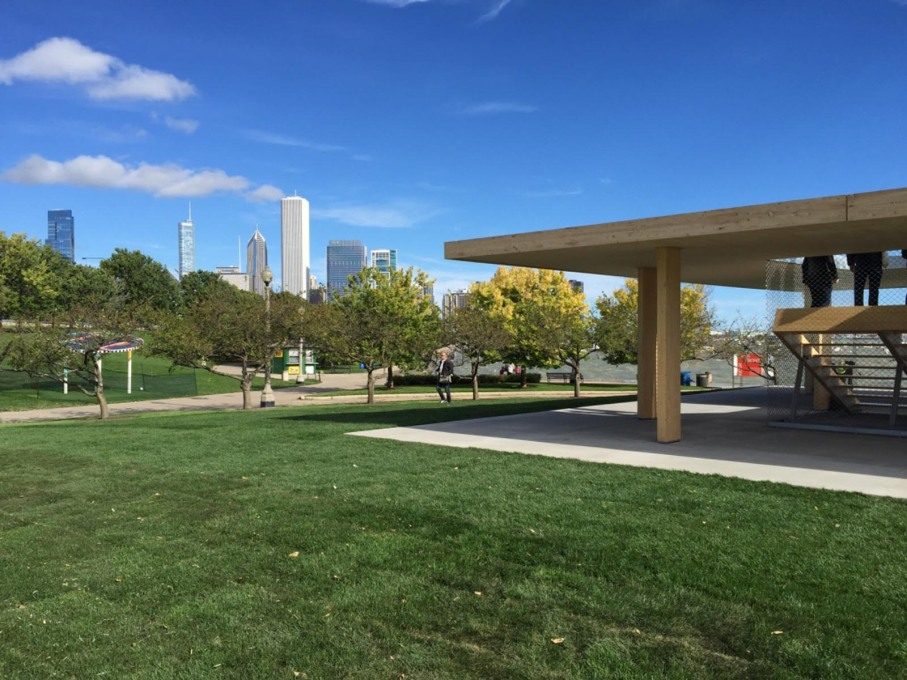 The view to downtown Chicago behind Ultramoderne's winning kiosk design. (Photo: Rob Wilson)