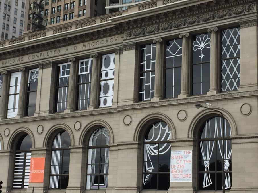 "Norman Kelley's ""Chicago, How do you see?"" on the windows of the Chicago Cultural Center. (Photo: Rob Wilson)"