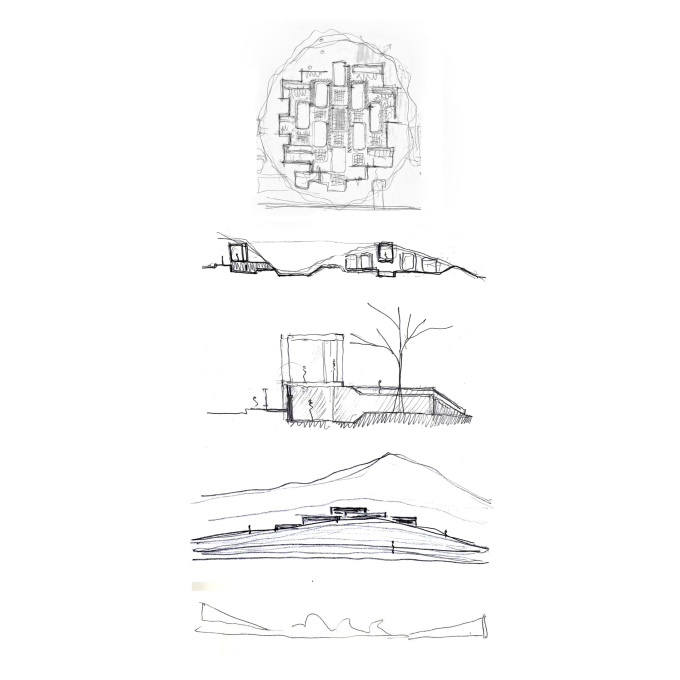 The design sketches demonstrating this idea of a walled city. (Drawing: © Mauricio Rocha)