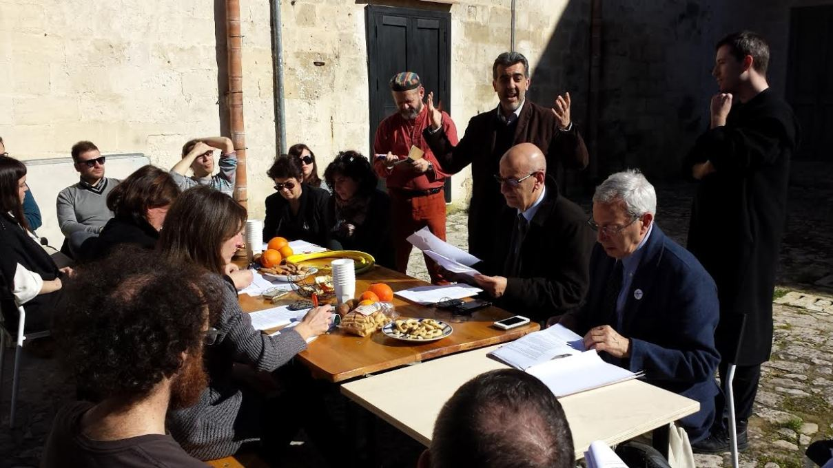 The February press conference for the opening, featuring TRM journalists, Rossella Tarrantino and Paolo Verri of Matera2019, Mayor Salvatore Adduce, and unMonasterians Vickers, Bembo Davies and Rita Orlando. (Photo: TRM)